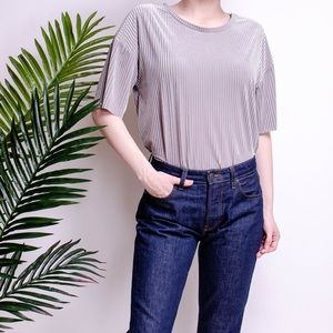 Zara gray striped velvety draped blouse top